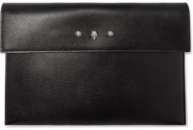 Embellished Textured-leather Pouch - Black