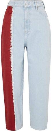 Two-tone High-rise Straight-leg Jeans - Light denim