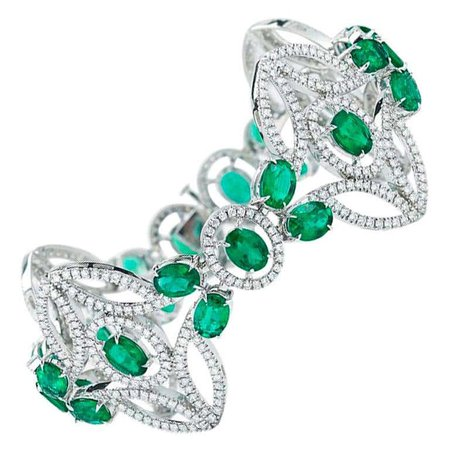 Emerald and Diamond Bracelet by Takat For Sale at 1stDibs