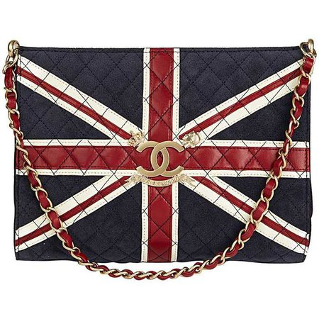 Chanel Navy Suede Red and White Lambskin Union Jack Shoulder Bag, 2009 For Sale at 1stdibs
