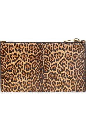 Saint Laurent Small Leopard Print Leather Pouch | Nordstrom