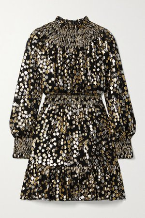 Smocked Metallic Fil Coupe Silk-blend Chiffon Mini Dress - Black