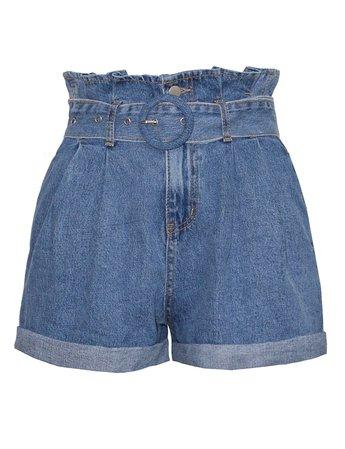 Paperbag Denim Belted Shorts