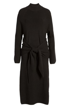 SNDYS Tied Up Ribbed Long Sleeve Midi Sweater Dress | Nordstrom