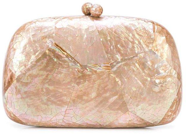 crackled clutch bag