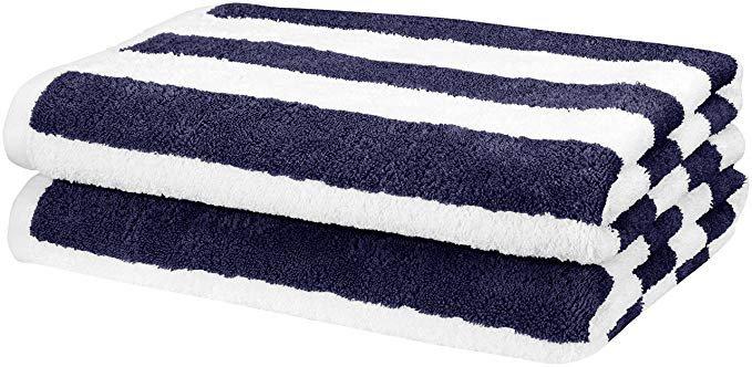 Amazon.com: AmazonBasics Cabana Stripe Beach Towel - Pack of 2, Navy Blue