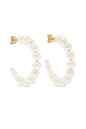 white and gold pearl hoop earrings