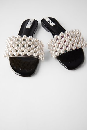 SLIDE SANDALS WITH PEARLS | ZARA United States
