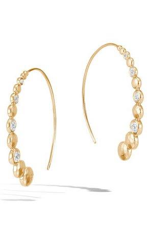John Hardy Dot Hammered Diamond Pavé Medium Hoop Earrings | Nordstrom