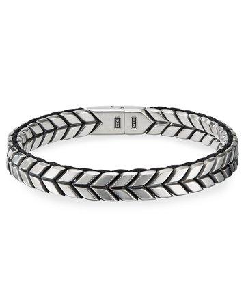 David Yurman Chevron Woven Silver Bracelet