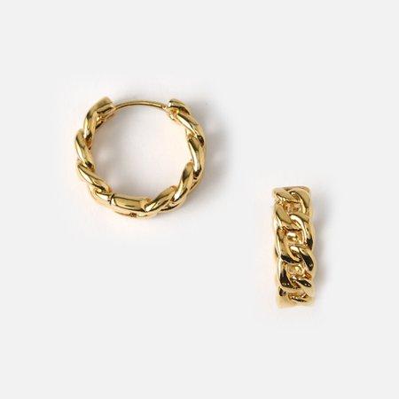 Chain Huggie Hoop Earrings-Gold - Orelia London