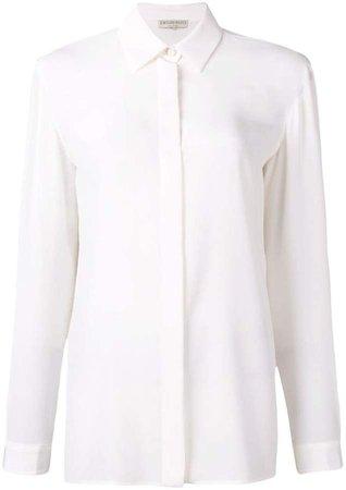 White Long Sleeved Silk Shirt