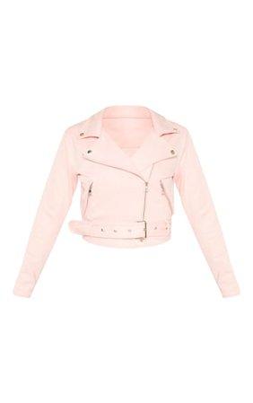 Pink Faux Suede Biker Jacket   PrettyLittleThing USA