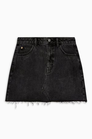 PETITE Washed Black Denim Skirt | Topshop