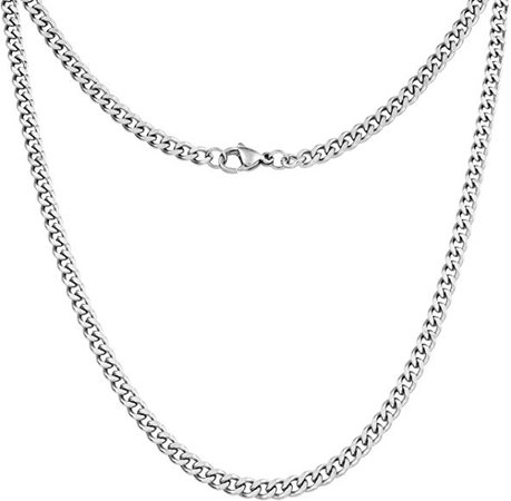 Amazon.com: Silvadore 4mm Curb Mens Necklace - Silver Chain Cuban Stainless Steel Jewelry - Neck Link Chains for Men Man Women Boys Male Military - 14 16 18 20 22 24 26 36 inch (18, Cardboard Box): Jewelry