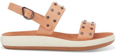 Dinami Studded Leather And Suede Slingback Sandals - Neutral