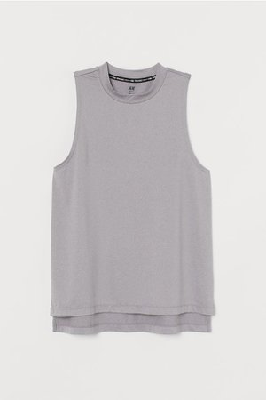 Ribbed Sports Tank Top - Light gray melange - Ladies | H&M US