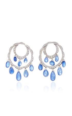 Giovane 18K White Gold Sapphire and Diamond Earrings
