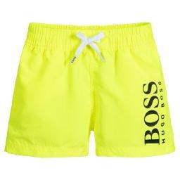 BOSS - Neon Yellow Logo Swim Shorts   Childrensalon