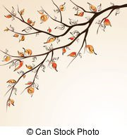 Autumn tree with falling leaves.