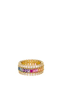 The M Jewelers NY Three Row Rainbow Ring in Multi | REVOLVE