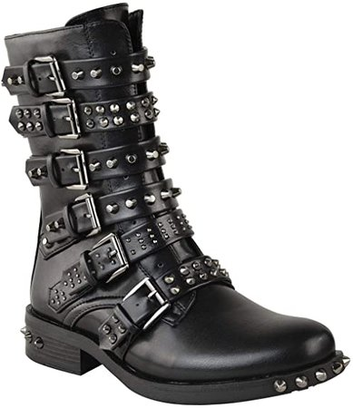 Amazon.com | Fashion Thirsty Womens Studded Ankle Boots Buckle Biker Strappy Flat Shoes Size | Ankle & Bootie