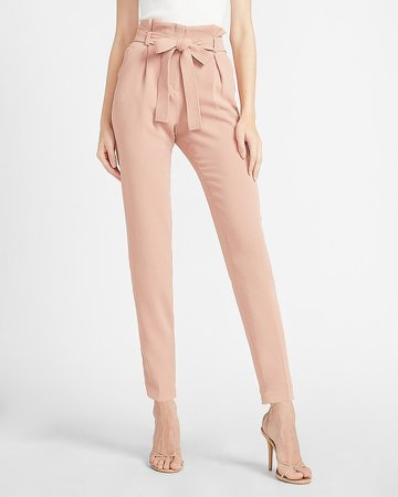 High Waisted Belted Paperbag Ankle Pant
