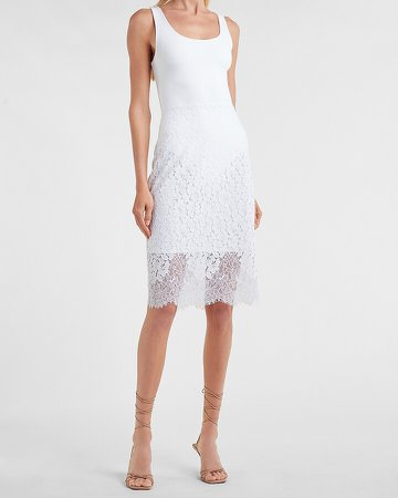 High Waisted Scalloped Lace Pencil Skirt