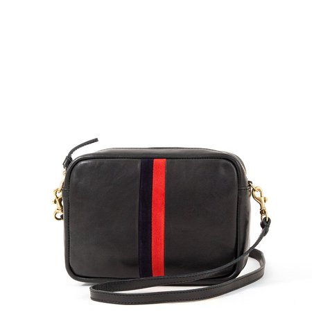 Midi Sac Black with Navy & Red Stripes – Clare V.