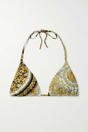 Printed Triangle Bikini Top - Gold