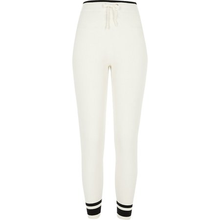 Cream ribbed knitted joggers | River Island