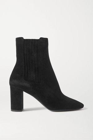 Black Mica suede ankle boots | SAINT LAURENT | NET-A-PORTER