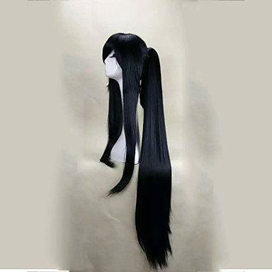 capless black cosplay wig with ponytail 120cm super long straight synthetic hair wigs suit for party Halloween 4928016 2019 – $29.99