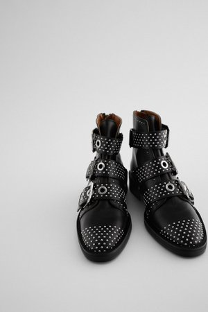 STUDDED FLAT LEATHER ANKLE BOOTS WITH BUCKLES | ZARA United Kingdom