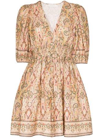Zimmermann Freja paisley-print Linen Mini Dress - Farfetch