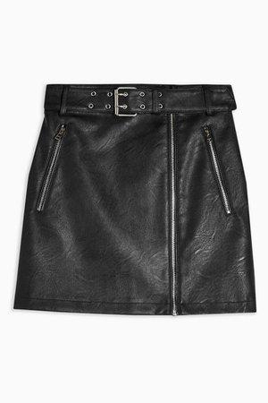 IDOL Black Faux Leather PU Hardware Mini Skirt | Topshop