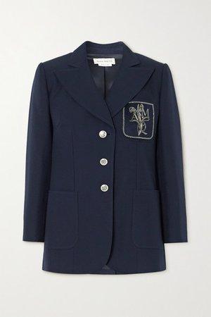 Embellished Appliqued Cotton Blazer - Navy