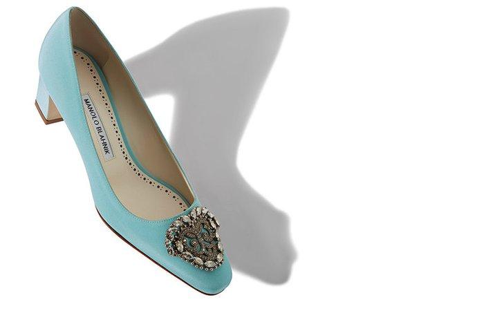 Light blue block heel with jewelled buckle