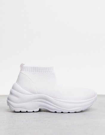 Bershka knitted sneaker in white | ASOS