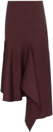 asymmetric check godet skirt