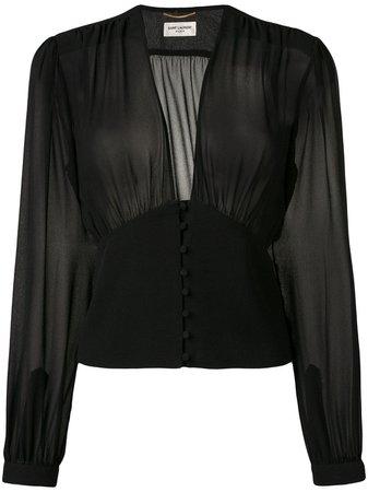 Black Saint Laurent Sheer Blouse | Farfetch.com
