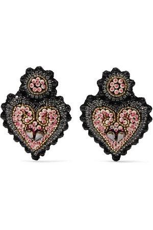 Etro | Heart-shaped felt, crystal and bead clip earrings | NET-A-PORTER.COM