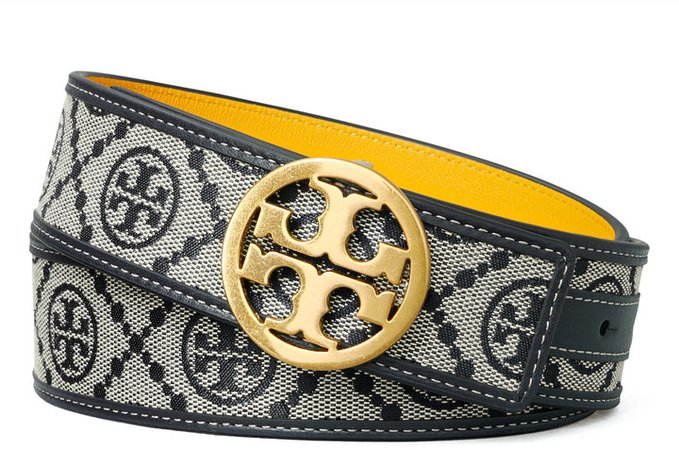 T Monogram Jacquard & Leather Reversible Belt