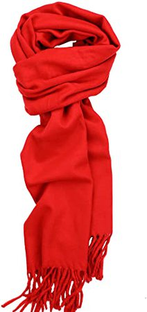 Achillea Solid Color Cashmere Feel Winter Scarf Unisex Soft & Warm Plain Scarf (Red) at Amazon Women's Clothing store