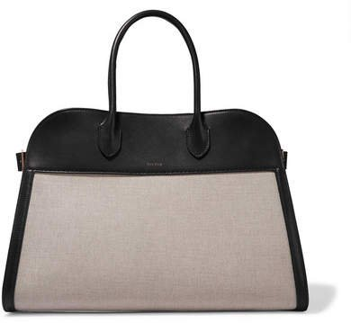 Margaux 15 Buckled Leather-trimmed Canvas Tote - Beige