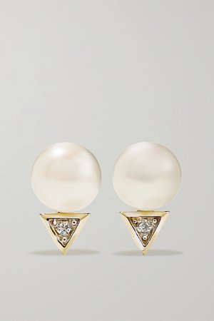 Gold 14-karat gold pearl and diamond earrings | Mateo | NET-A-PORTER