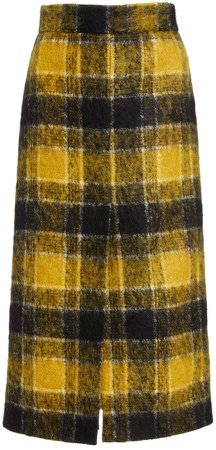 Red Valentino Tartan Plaid Pencil Skirt
