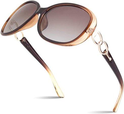Amazon.com: Polarized Sunglasses for Women Womens Sun Glasses Oversized Fashion Shades UV Protection Retro Designer Luxury Eyewear Transparent Brown Frame Gradient Browm Lens SUNIER S85: Clothing
