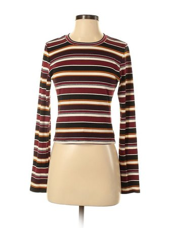 Active USA Collection Long Sleeve T-Shirt: Burgundy Stripes Crew Neck