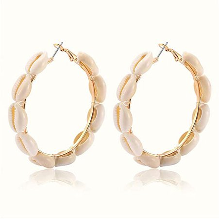 Amazon.com: Hoop Earrings For Women Natural Cowrie Shell Beads Hoop Earrings Statement Stud Drop Earrings Bohemia Hawaii Wakiki Beach Jewelry (gold): Clothing